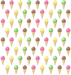 Ice cream in a waffle cone pattern vector