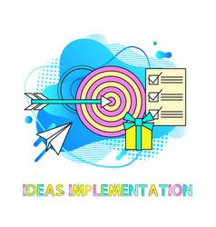 Idea implementation target with arrow checklist vector