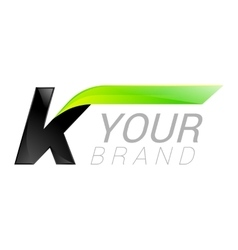 K letter black and green logo design Fast speed vector image