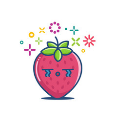 Kawaii crying strawberry emoticon cartoon vector