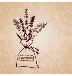 Lavender sachet sketch bouquet vector
