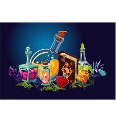 magic lab with fantasy objects cartoon background vector image