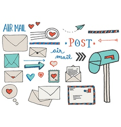 Mail and Postage Doodle Clip Art vector image