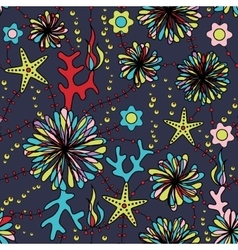 Marine flowers colorful seamless pattern vector