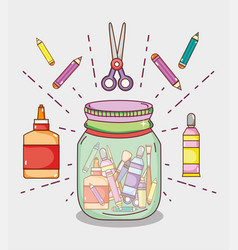 mason jar with craft supplies vector image