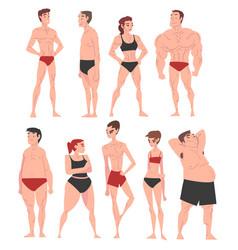 Men and women in underwear set different human vector