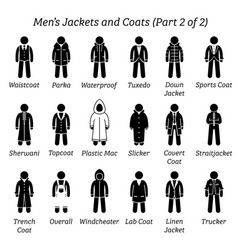 men jackets and coats stick figures depict a set vector image