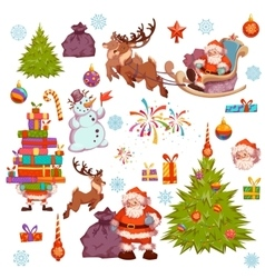 Merry Christmas icon set with Santa Claus pine vector image