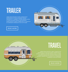 Modern travel trailer flyers set vector