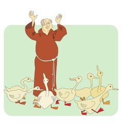 Monk and geese vector