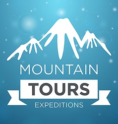 Mountain tours expedition on blue background vector image