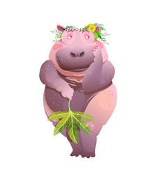 naked shy hippopotamus lady bathroom print cartoon vector image