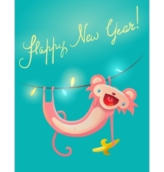New Year greeting card with cute monkey vector image