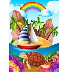Ocean scene with turtle underwater vector image