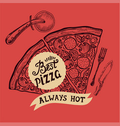 pizza poster for restaurant and cafe vector image