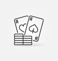 Poker chips with pair aces simple line vector