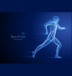 Running man constructed with blue lines vector