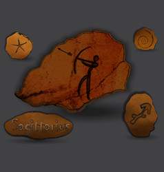 sagittariuszodiac in the form of cave painting vector image