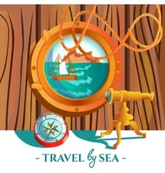 Sea nautical poster vector