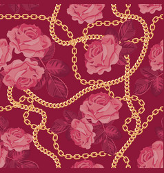 Seamless pattern background with golden chains vector