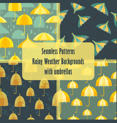 Seamless patterns with an umbrellas and rain vector