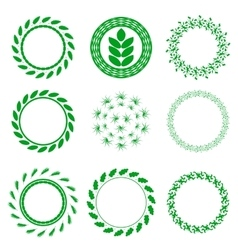 Set of Green Circle Floral Frames vector image
