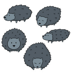 set of porcupine vector image