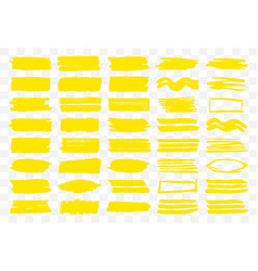 set of yellow strokes and elements vector image