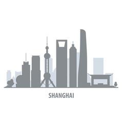 shanghai city skyline - cityscape silhouette with vector image