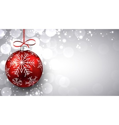 Silver christmas background with red ball vector image vector image