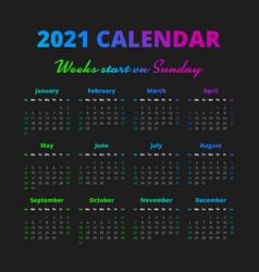 Simple 2021 year calendar weeks start on sunday vector