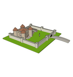 simple a medieval castle with fortified wall vector image