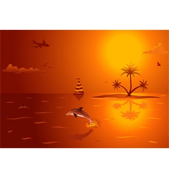 Summer background with island palm tree dolphin an vector