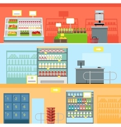Supermarket Interior Design vector