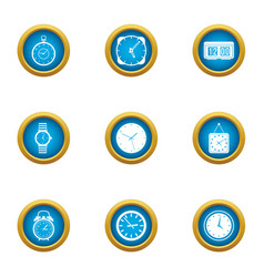 timepiece icons set flat style vector image