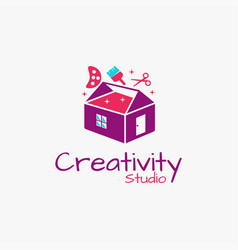 Tool box and house studio art logo icon vector