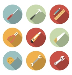 Tools flat icons set vector