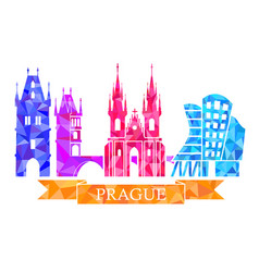 Traditional symbols of prague in the polygonal vector