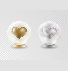 transparent glass ball with hearts vector image
