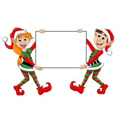 two Christmas elf holding blank sign vector image