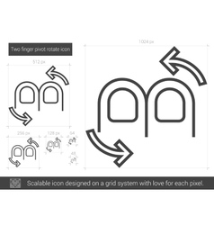 Two finger pivot rotate line icon vector