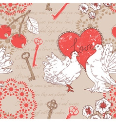 Valentine retro seamless pattern with hearts vector