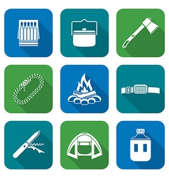 White color flat style various camping icons vector