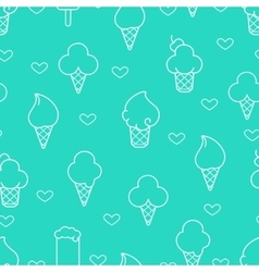 White line ice cream icons vector