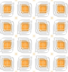 White linear leaves layered on orange seamless vector