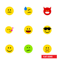 Flat icon face set of displeased hush frown and vector