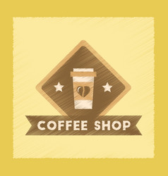 flat shading style icon coffee shop logo vector image vector image