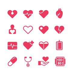 heart diagnosis and cardiac treatment icons vector image vector image