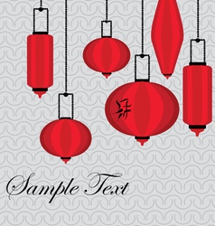 Pattern with red chinese lantern vector image