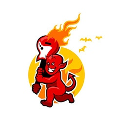 Red Devil Boy And Flaming Guitar vector image